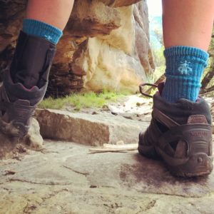 Smartwool socks inside shoes while hiking