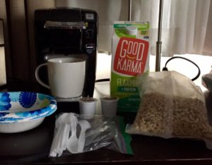A Good travel coffee maker on my breakfast table