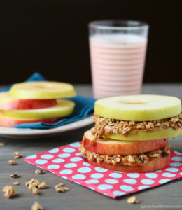 Apple Sandwich with Almond butter and Granola