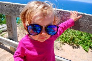 baby wearing polarized sunglasses