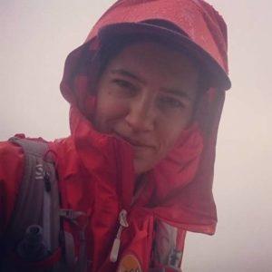 woman wearing gore-tex rain jacket