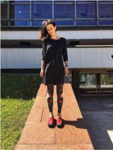 Woman wearing modal leggings and top
