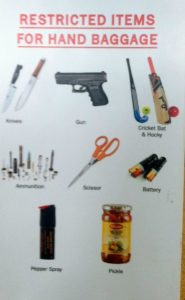 Items not allowed by airport security