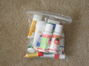 Toiletries for travel in ziploc bag