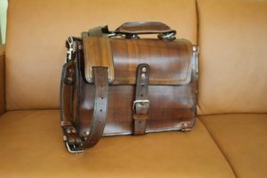 A travel briefcase made with original leather