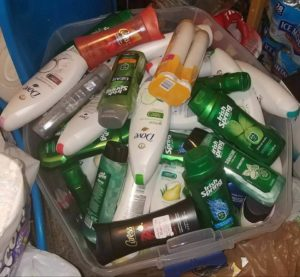 Overpacked toiletries