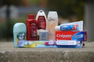 Toiletries item for travel on a table