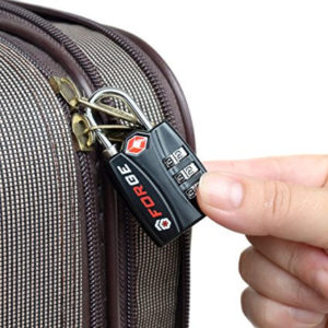 Forge TSA Locks 2 Pack - Open Alert Indicator, Alloy Body with Lifetime Warranty on a suitcase